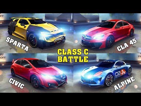 Asphalt 8 - Sparta vs Civic vs Alpine vs CLA 45 (Race Test)