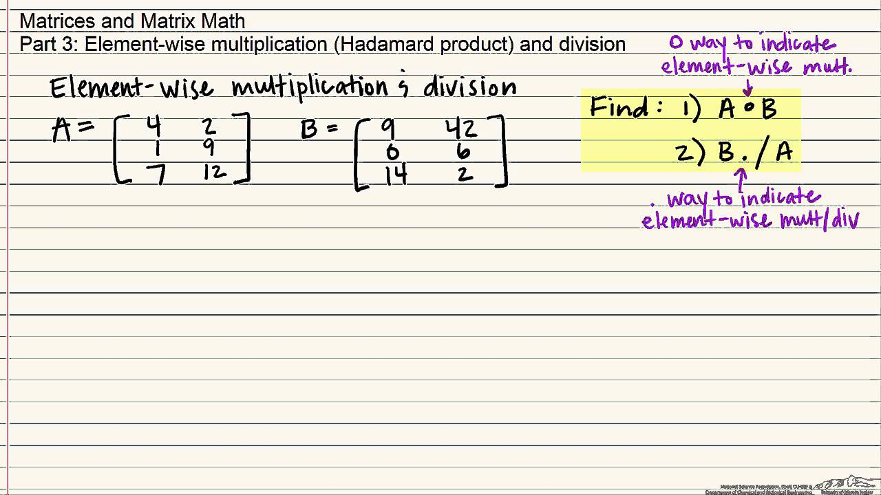 Element-Wise Multiplication and Division of Matrices
