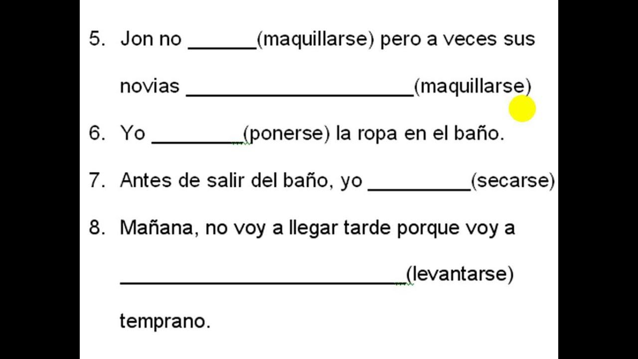 worksheet Reflexive Verbs Spanish Worksheet spanish practice reflexive verbs youtube verbs