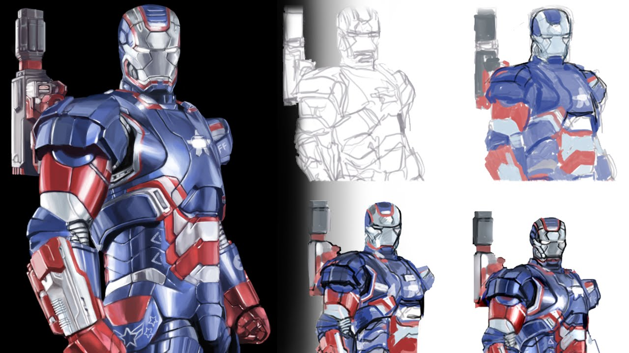 how to draw iron man 3s iron patriot realistic speed art seebonnydraw 18 youtube
