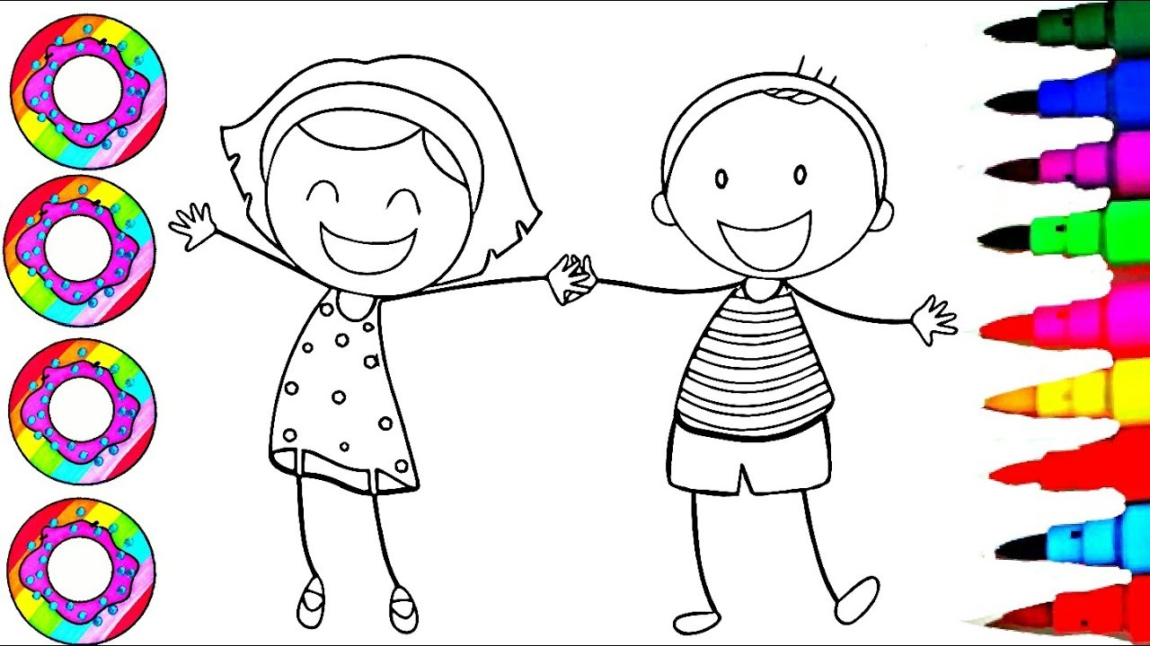 Colouring Drawings Happy Little People Boy And Girl