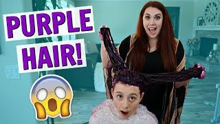 COLORING MY TEEN DAUGHTER'S HAIR PURPLE AT HOME VLOG!