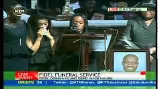 Fidel Odinga's widow, Lwam Bekele, breaks down eulogizing her late husband