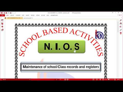 511.2 Maintenance of school/Class records and registers solved with pdf file nios deled sba file