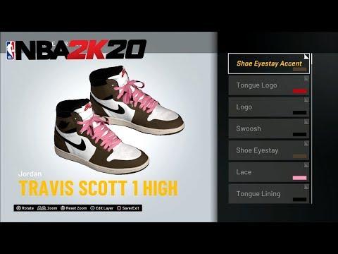 NBA 2K20 HOW TO MAKE AIR JORDAN 1 TRAVIS SCOTT HIGH SHOE CREATOR TUTORIAL HOW TO MAKE AIR JORDANS 2K