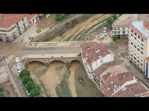 Imágenes aéreas de la riada en Tafalla