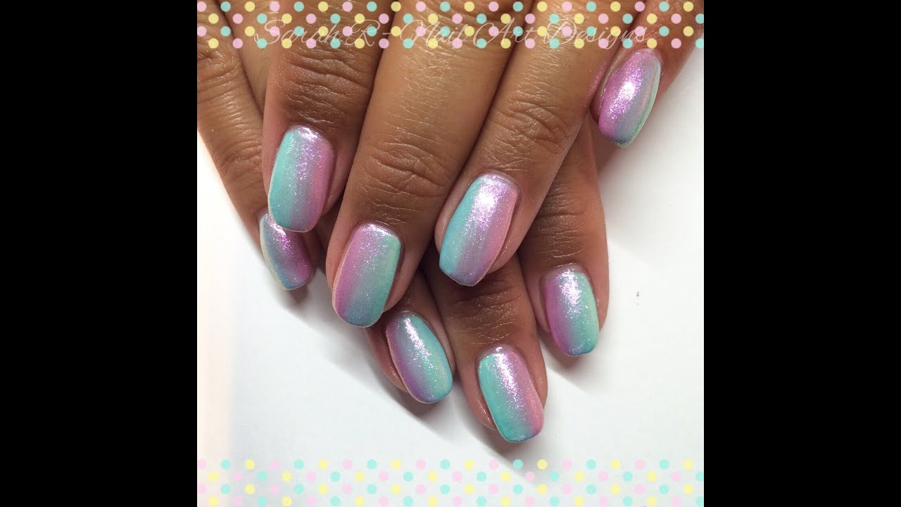 Pastel Gel Polish Gradient / Ombré | Mermaid Effect Nails - YouTube