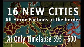 16 New Cities in Barbarian Invasions + All Hordes in Flight AI Only Timelapse