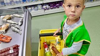 Vania and Mania Pretend Play Shopping with Giant Grocery Store Super Market