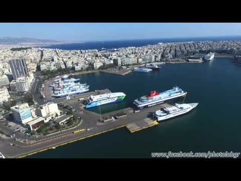 Aerial (drone) view - Piraeus port full of ships during stri