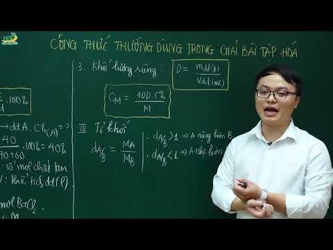 Hóa học lớp 10 - Công thức thường dùng trong giải bài tập Hóa học | Thầy Trần Thanh Bình