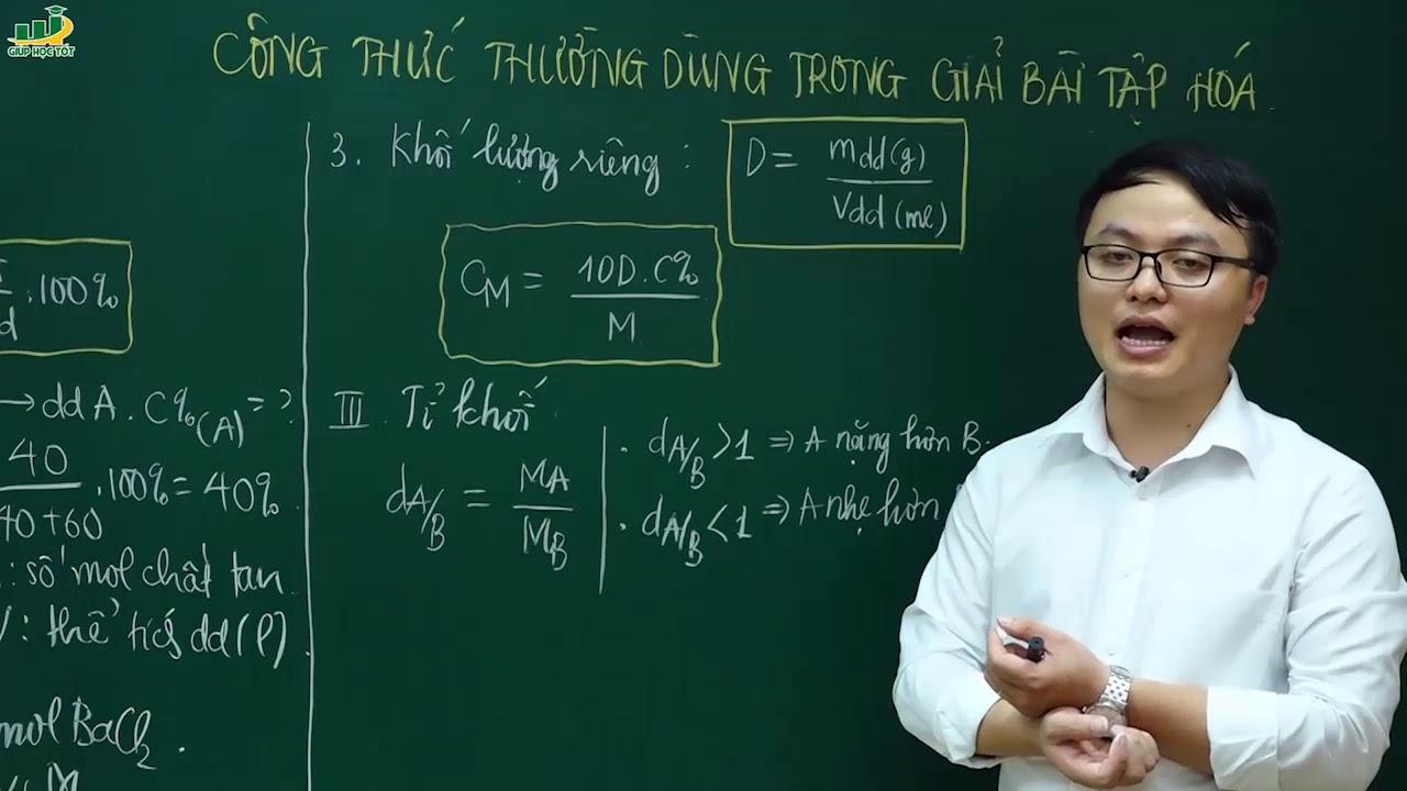 Hóa học lớp 10 – Công thức thường dùng trong giải bài tập Hóa học | Thầy Trần Thanh Bình