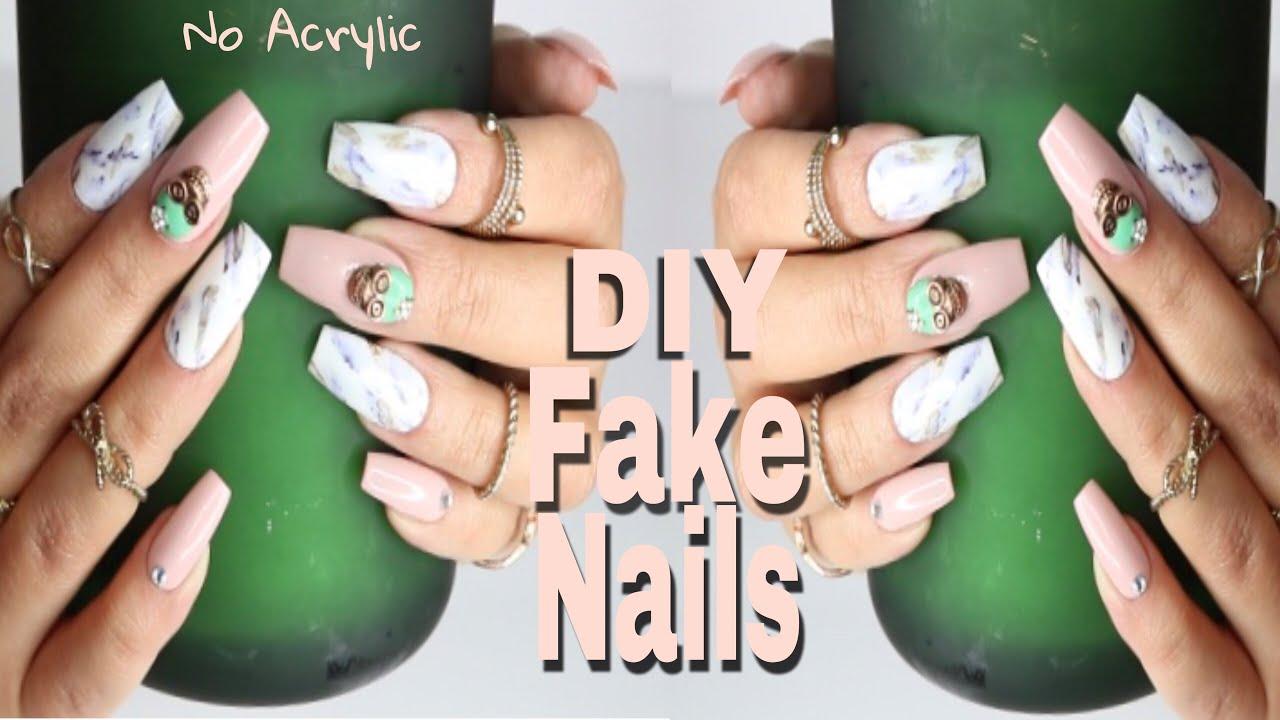 DIY Fake Nails | Realistic Marble Nail Art on Faux Acrylic Nails ...