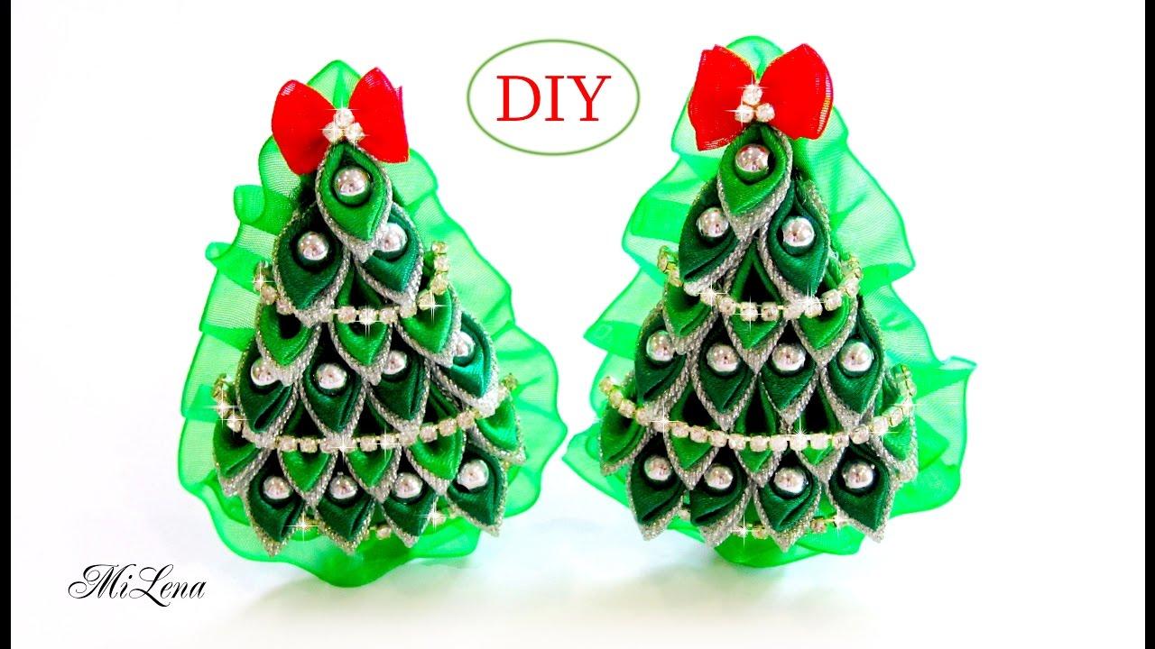 Diy Kanzashi Christmas Tree Hairclip