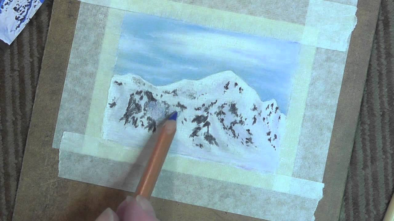 Snow Top Mountains In Pastel Pencils Speed Painting