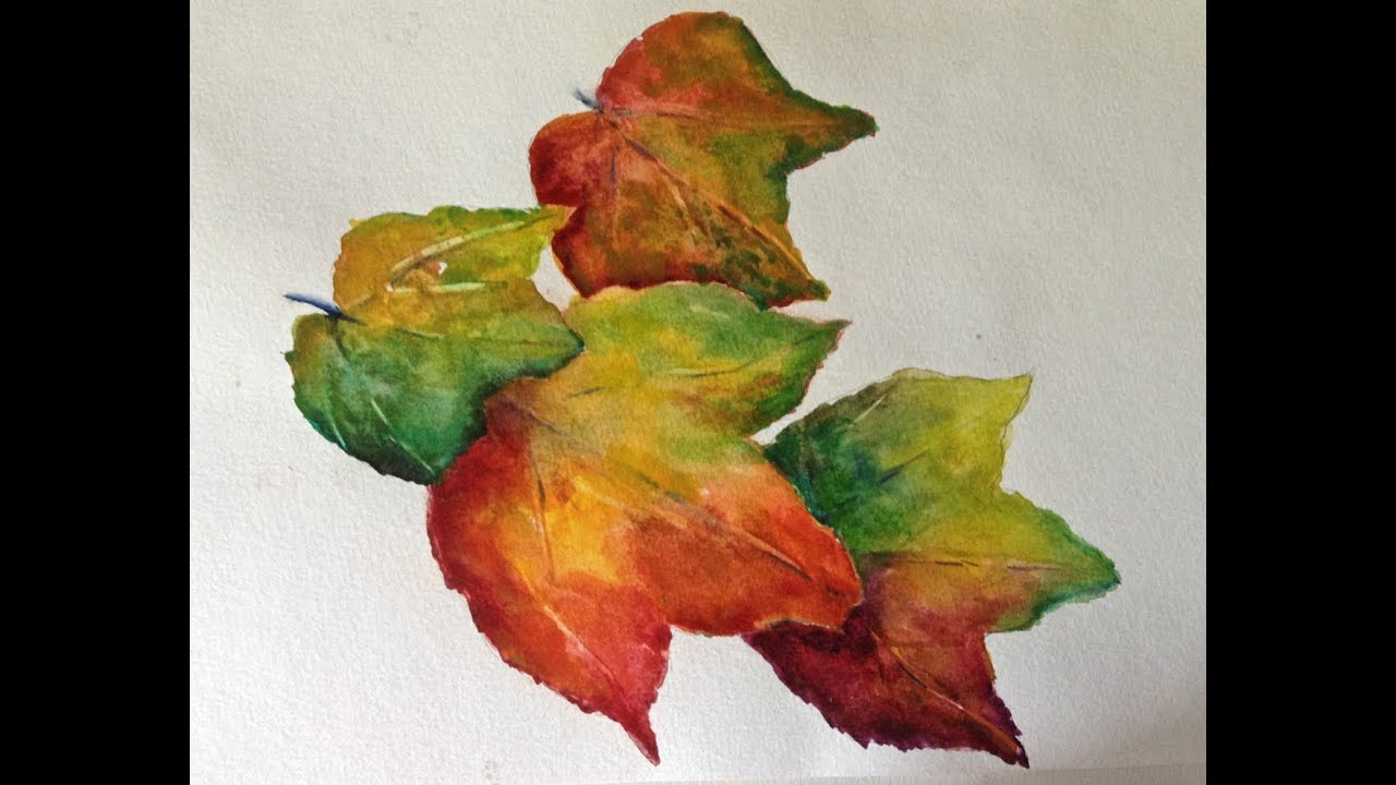 Autumn Leaves watercolor tutorial, how to paint step by step, part 1 ...