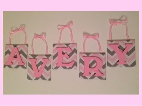 Diy Nursery Wall Letters Pink And Grey Chevron