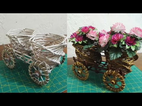 DIY Newspaper Flower Trolley | Beautiful Recycle craft | best out of waste ideas.