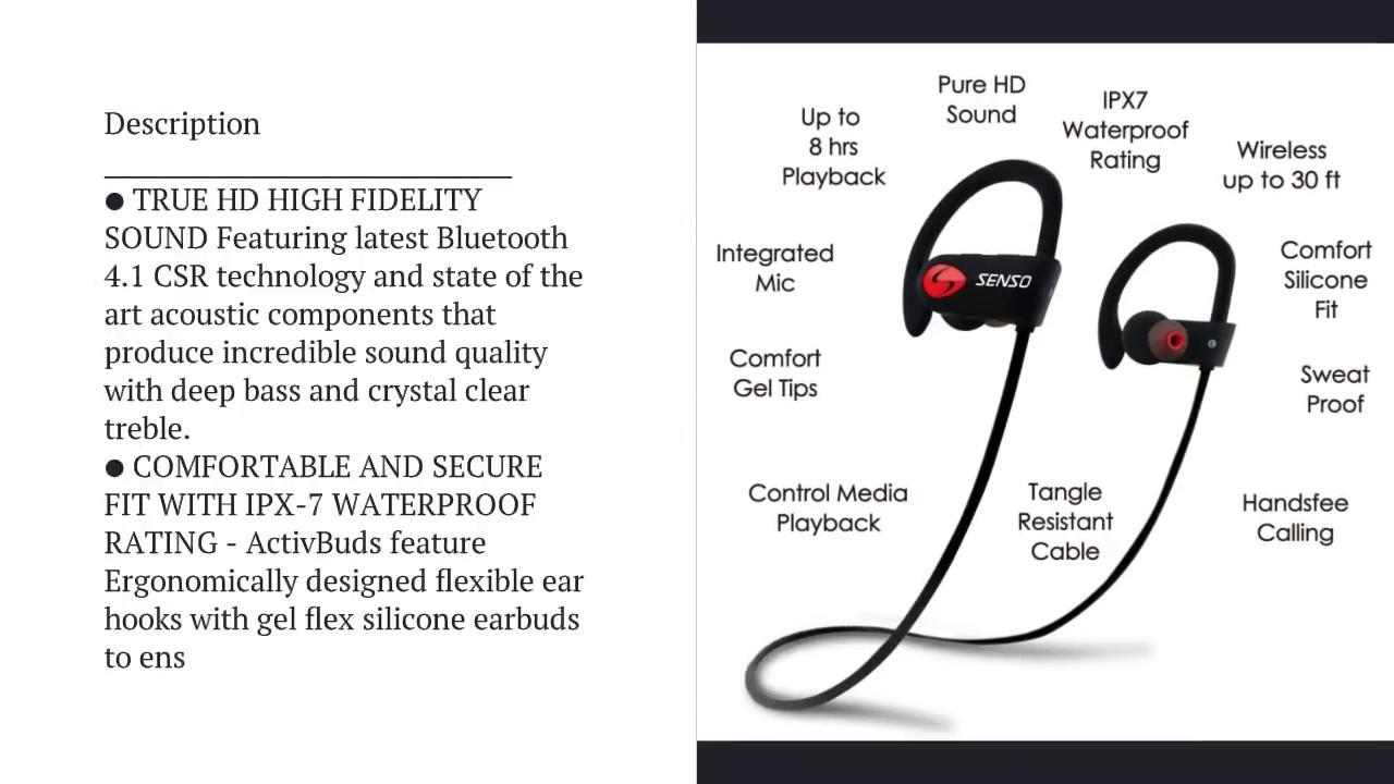 size 40 29c29 06369 Senso Bluetooth Headphones, Best Wireless Sports Earphones w/Mic IPX7  Waterproof HD Stereo