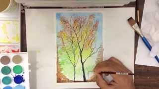 Autumn Tree watercolor Painting Thumbnail