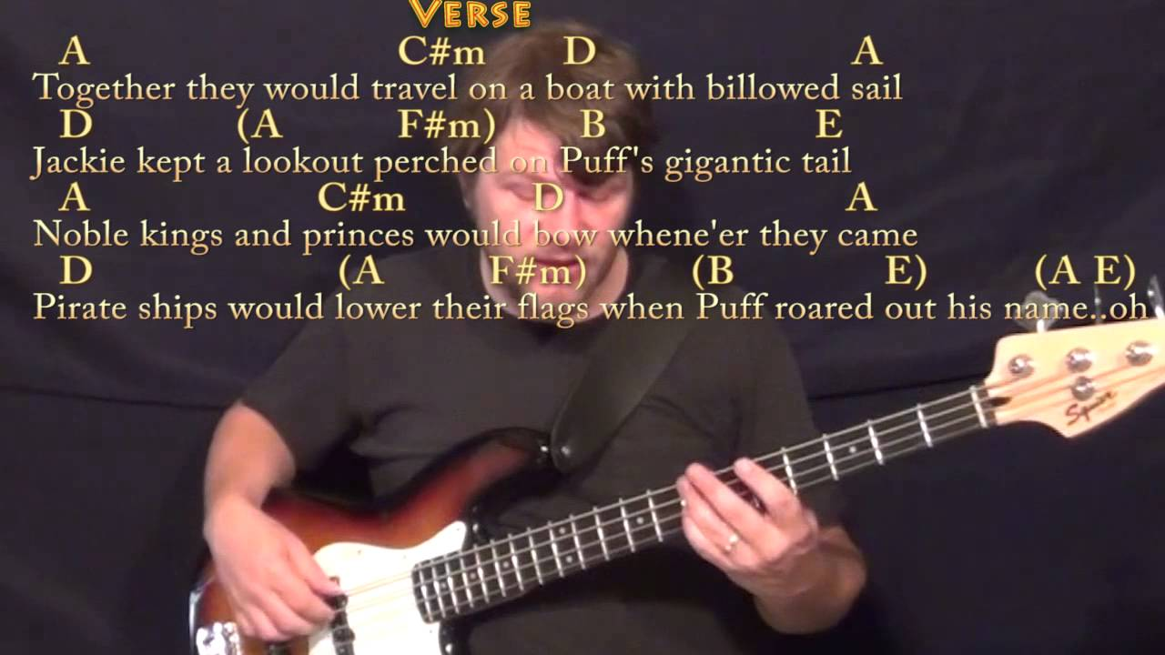 Puff The Magic Dragon Bass Guitar Cover Lesson In A With Chords