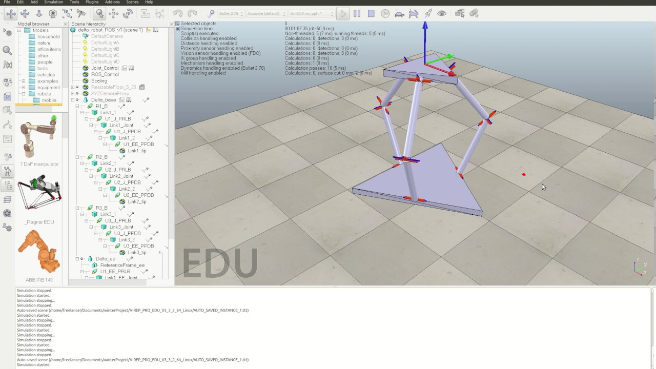 ROS Angle Control of Inverted Delta Robot 1 - VREP Simulation