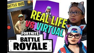 EPIC Fortnite real life Battle Royale vs Virtual (Fortnite birthday party mission).