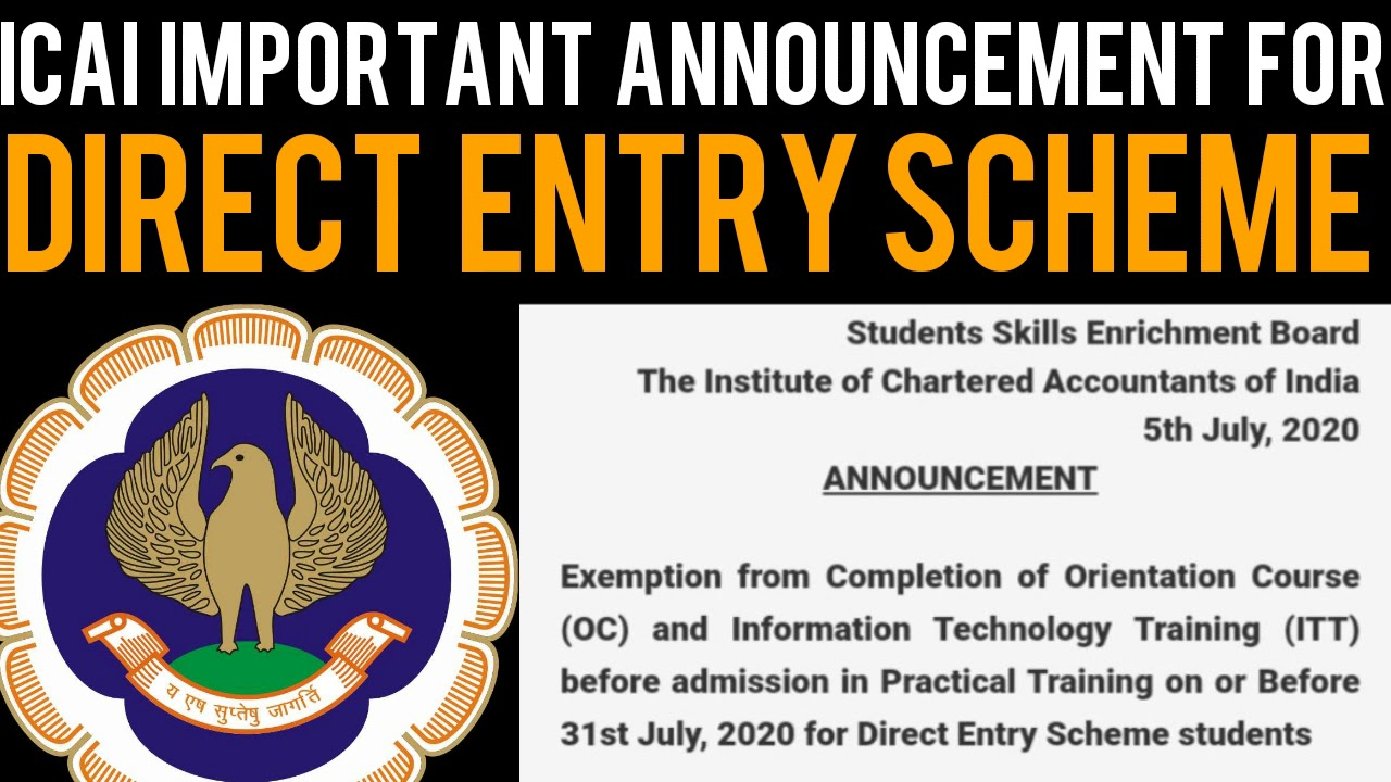 ICAI Important Announcement For Direct Entry Scheme Students