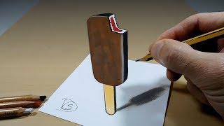 3D Trick Art on Paper   Chocolate Ice Cream   Optical Illusion