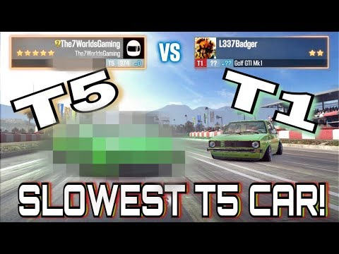 RACE A T5 Vs T1 In LIVE RACES! THE SLOWEST T5 CAR EVER!! | CSR Racing 2
