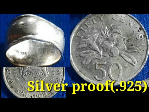 50 cents Singapura old coin Republic of Singapore silver pro