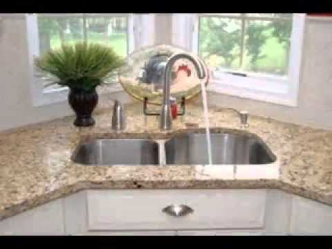 Corner kitchen sink design ideas - YouTube