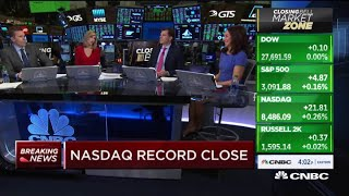 Nasdaq closes at record high