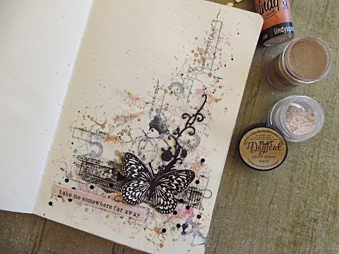 Stamping on Magical powder- mixed media technique for Lindy's Gang