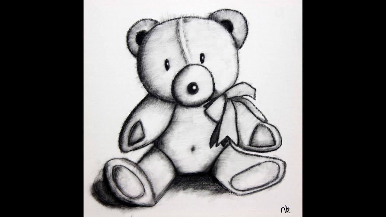 Uncategorized Drawing Of Teddy Bears speed drawing teddy bear in charcoal on canvas youtube