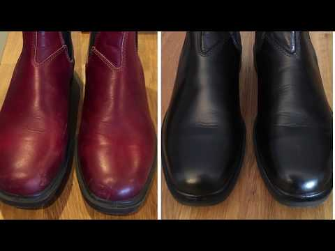 Dye BLUNDSTONE leather Boots, Red To Black, Easily
