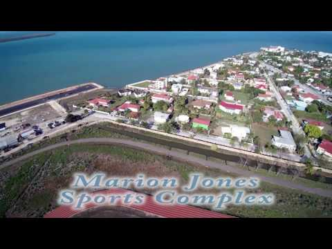Drone  footage of Marion Jones Sports Complex in Belize City