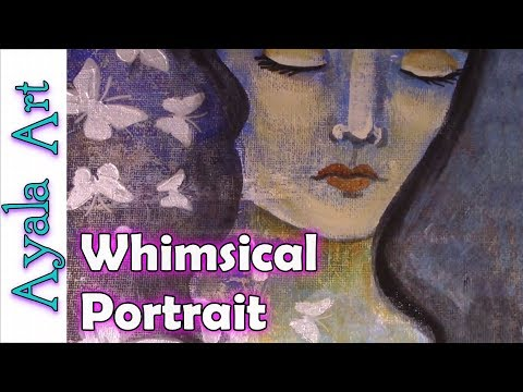 🎨 Mixed Media art tutorials – Whimsical Girl – time laps painting AyalaArt – collab carsondcatslife