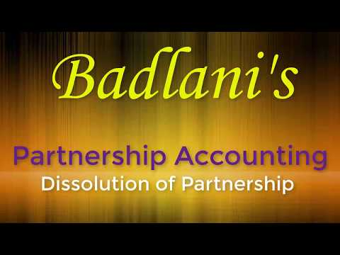 Accounts : Partnership : Dissolution : Lecture 1