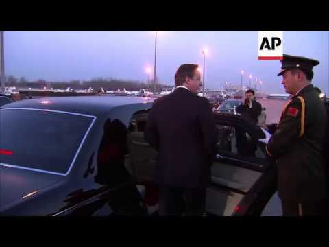 UK Prime Minister Cameron arrives in China on visit