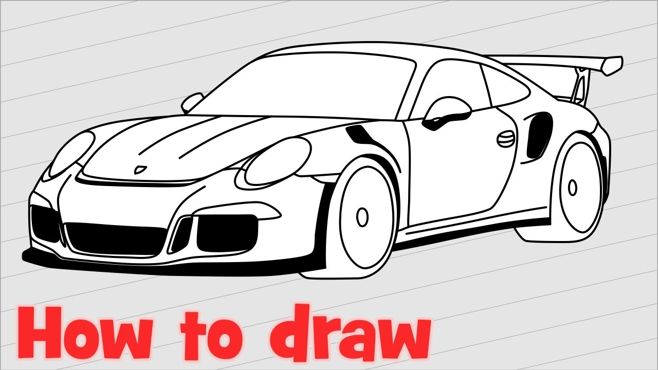 How To Draw A Car Porsche 911 Gt3 Rs 🚗 Youtube