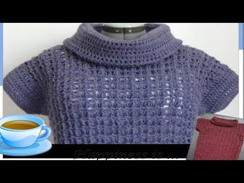 e83acf36e كروشيه بلوفر نسائى او بناتى لأى مقاس  crochet pullover # كولكشن collection #