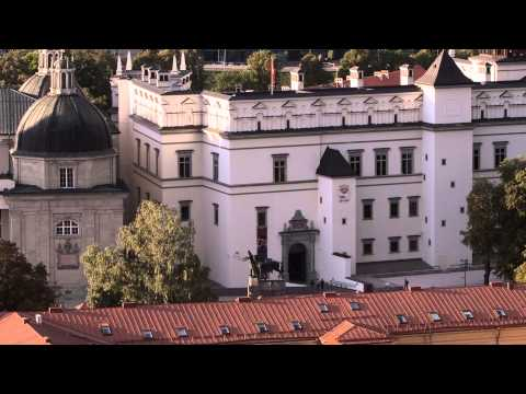 Vilnius - close-up look from St. Jonas belfry - Balloons - Lithuania. [1080p HD]
