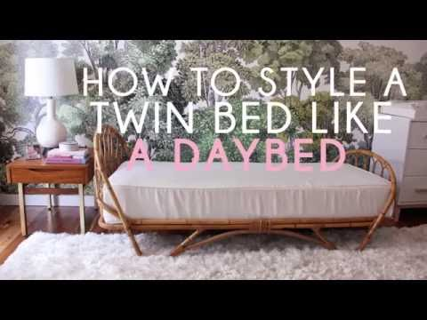 How to style a twin bed like a sofa youtube 2 twin beds make a queen