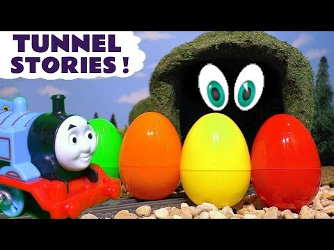 Thomas and Friends Tunnel Stories exploring colors with Kinder Surprise Eggs and Nursery Rhymes TT4U