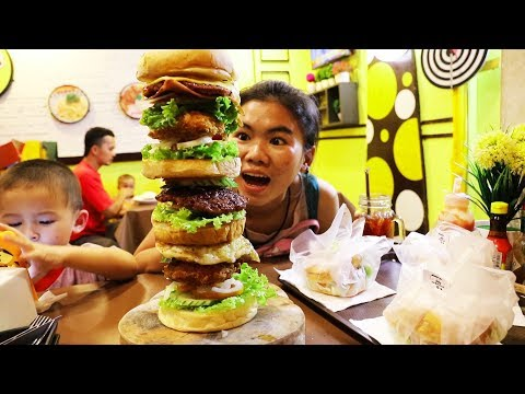 Huge Burger in Thailand, Only $4.25 US! Ao Nang Krabi Thailand Restaurants: Burger Bung