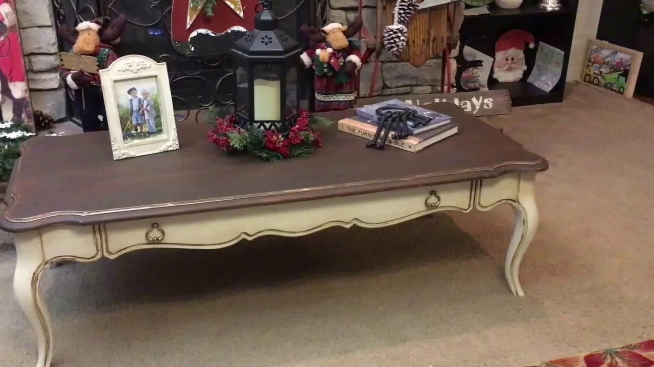 vintage distressed french country coffee table - youtube