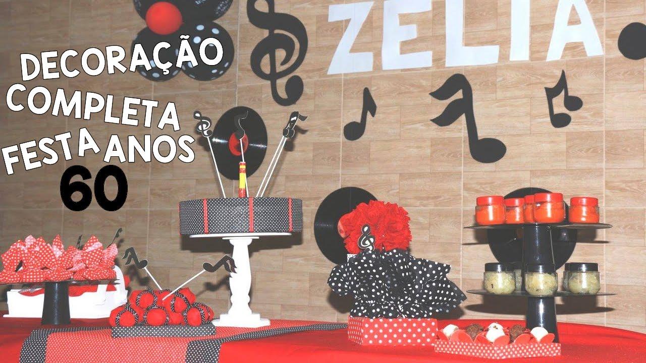 fe005b91ac IDEIAS PARA FESTA ANOS 60   CENTRO DE MESA   BANDEJAS  FestaAnos60Ep3 -  YouTube