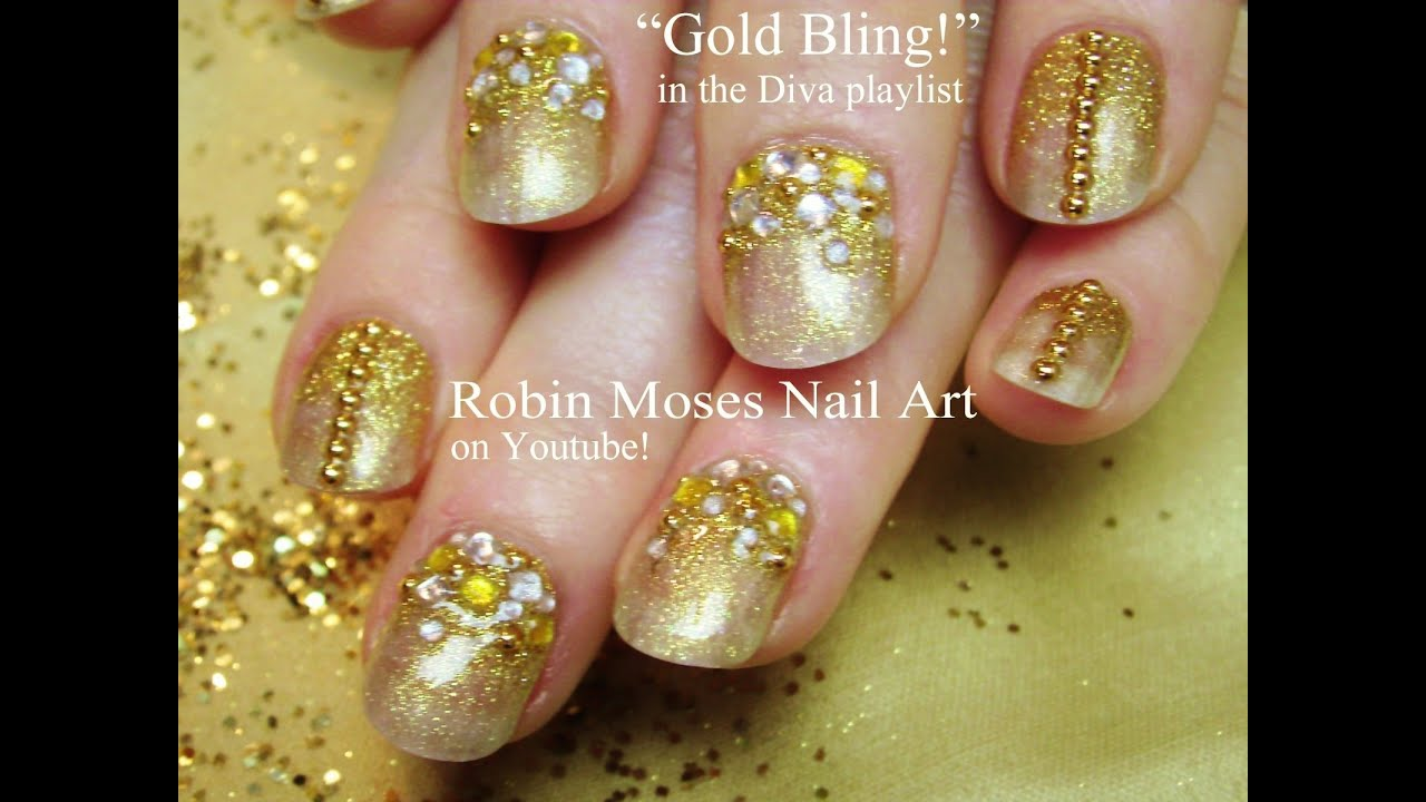 Easy Gold Glitter Gradient Nails