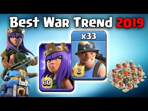 Best War Trend 2019! TH12 Queen Walk With 33 Miner Attack! TH12 Best & Strong Attack Strategy 2019